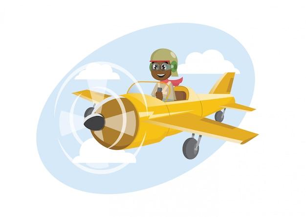 Afrikaanse jongen op een vliegtuig vliegen.
