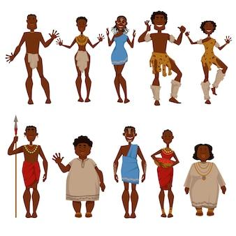 Afrikaanse karakters van inheemse stammensen in nationale of traditionele kleding van afrika