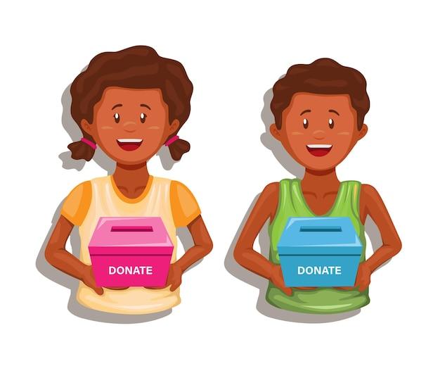 Afrikaanse kinderen die een donatiebox houden om geld in te zamelen om hongerkinderen te helpen karakter vector