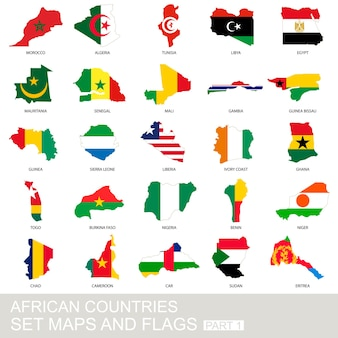 Afrikaanse landen set, kaarten en vlaggen, deel 1