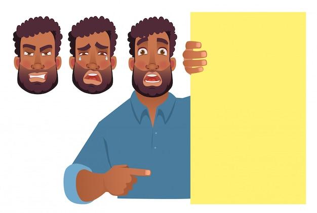 Afrikaanse man met lege banner.