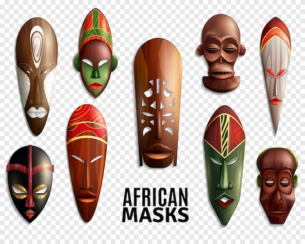 Afrikaanse maskers transparante icon set