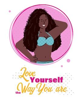 Afrikaanse meisje en slogan van lichaamsacceptatie, platte vectorillustratie.
