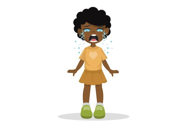Afrikaanse meisje permanent huilen.