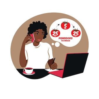 Afrikaanse meisjesmanager die met computer werkt die tijdbeheer gebruikt. pomodoro techniek concept.