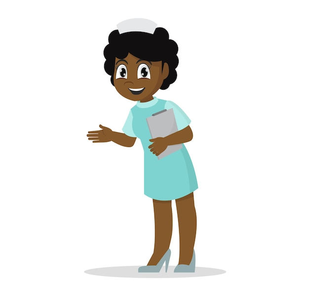 Afrikaanse meisjesverpleegster op het werk.