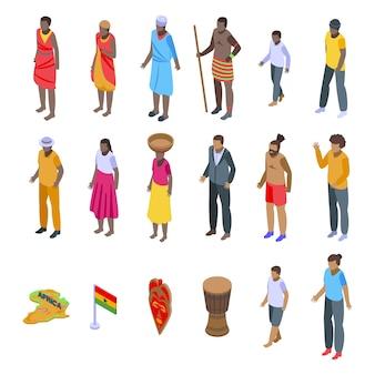 Afrikaanse mensen pictogrammen instellen.