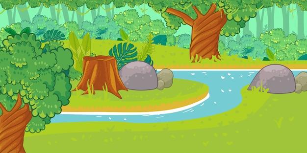 Afrikaanse natuur in een cartoon-stijl.