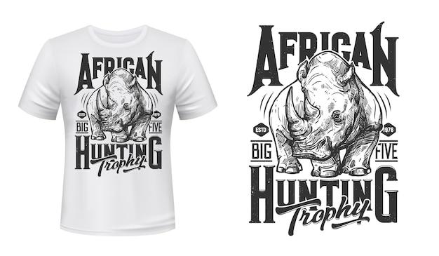 Afrikaanse neushoorn jacht t-shirt print neushoorn mascotte