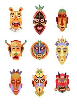 Afrikaanse of hawaiiaanse rituele maskers platte icoon collectie