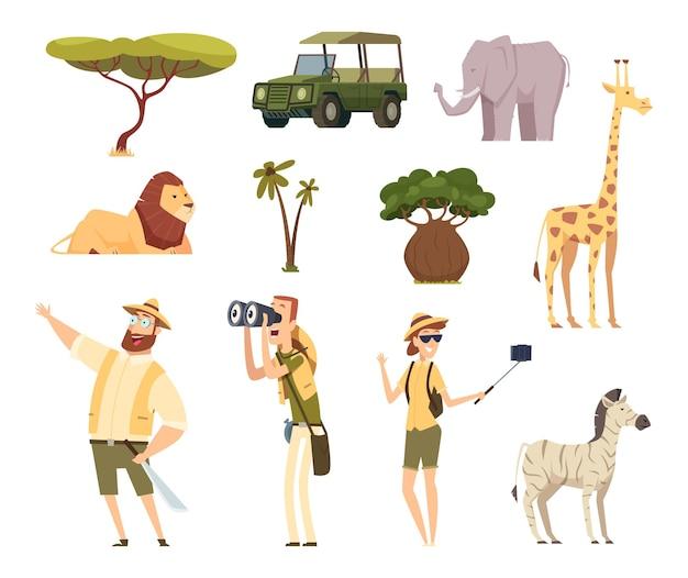 Afrikaanse safari. dieren in het wild dieren reizen auto kenia jungle tekens cartoon set.
