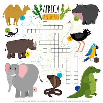 Afrikaanse safari dieren kruiswoordraadsel