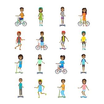 Afrikaanse set divers soort sport jongen meisje paardrijden achtergrond cartoon volledige lengte karakterstijl