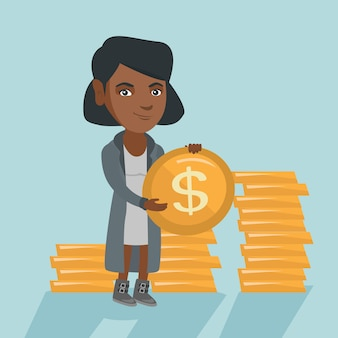 Afrikaanse succesvolle bedrijfsvrouw met dollarmuntstuk