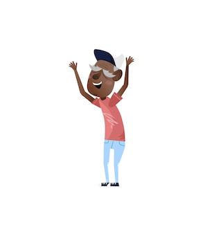 Afrikaanse volwassen man met handen omhoog karakter.
