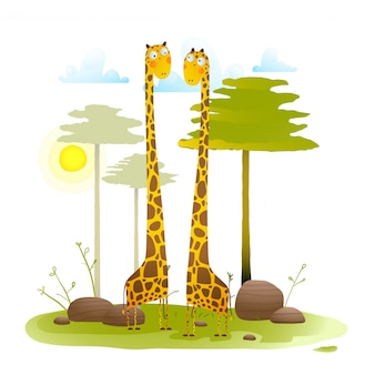 Afrikaanse vriendelijke giraffen dierentuin met bomen natuur landschap voor kinderen