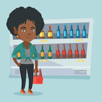 Afrikaanse vrouw met pak bier bij supermarkt.