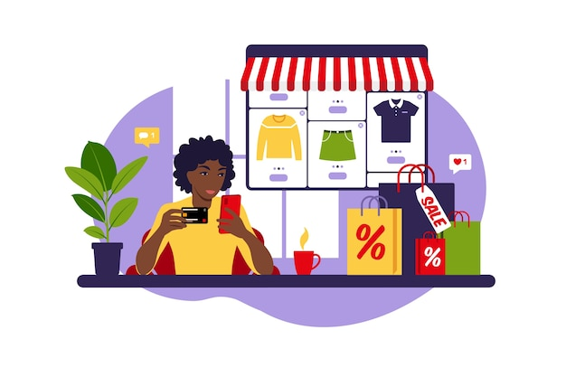 Afrikaanse vrouw online winkelen. zwarte vrijdag. betaal met credit card. uitverkoop. modern concept voor web. vlakke stijl.