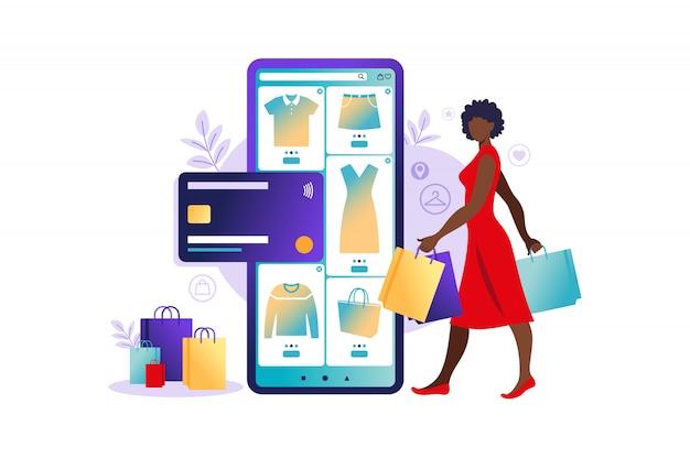 Afrikaanse vrouwen die online op mobiele telefoon winkelen. betaling via online winkel. bankcreditcards, veilige online betalingen en financiële factuur. portemonnees voor smartphones, digitale betaaltechnologie. platte vectorillustratie.
