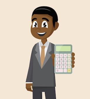 Afrikaanse zakenman bedrijf rekenmachine.