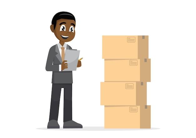 Afrikaanse zakenman die pakketten controleert.