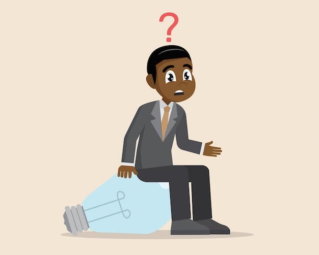 Afrikaanse zakenman heeft vragen.