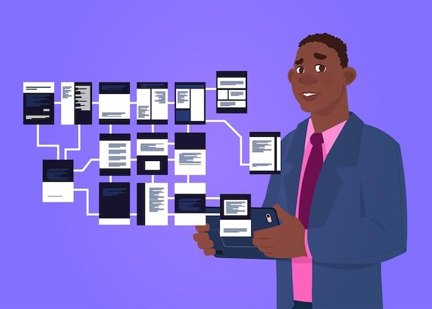 Afrikaanse zakenman met laptop