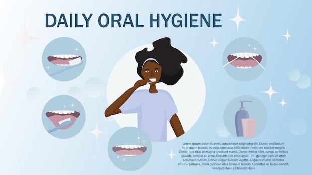 Afrikaanse zwarte vrouw leert dagelijks hoe ze goed voor haar mond moet zorgen en haar tanden moet poetsen