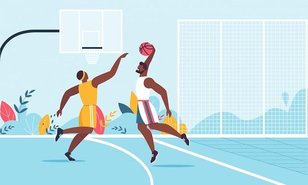 Afro-amerikaans mannelijk team basketbal cartoon spelen