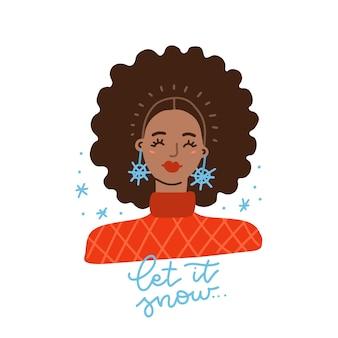 Afro-amerikaans meisje met afroharen en funky oorbellen winterportret van zwarte aantrekkelijke vrouw met l...