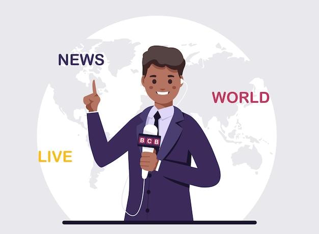 Afro-amerikaanse anchorman op tv-uitzending.vector illustratie zwarte journalist