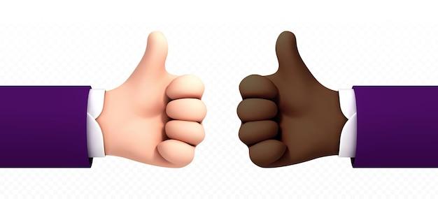 Afro-amerikaanse en kaukasische cartoon hand duim omhoog geïsoleerd op transparante achtergrond. vectorillustratie van positief concept en als symbool.