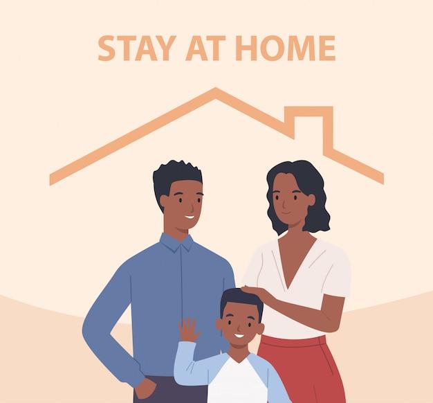 Afro-amerikaanse familie met kinderen blijft thuis. gelukkige mensen binnen huis. illustratie in een vlakke stijl