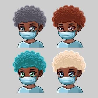 Afro-amerikaanse gekrulde man in medische masker