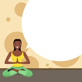 Afro-amerikaanse gelukkige vrouw doet yoga sport thuis
