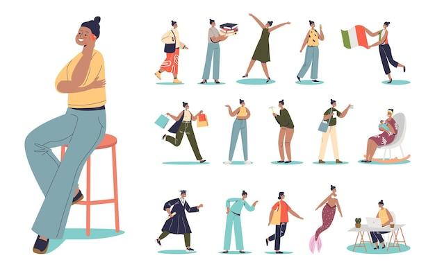 Afro-amerikaanse jonge vrouwelijke stripfiguur levensstijl set: vrouw student, afstuderen, reizen, winkelen, moeder, met smartphone, verpleegkundige zakenvrouw op het werk. platte vectorillustratie