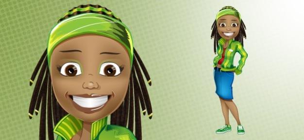 Afro-amerikaanse karakter. modieus meisje.