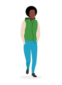 Afro-amerikaanse kerel vlakke afbeelding. zwarte man met krullend haar stripfiguur geïsoleerd op een witte achtergrond. mannelijke mannequin die casual stijl kleding draagt. knappe student met een donkere huidskleur
