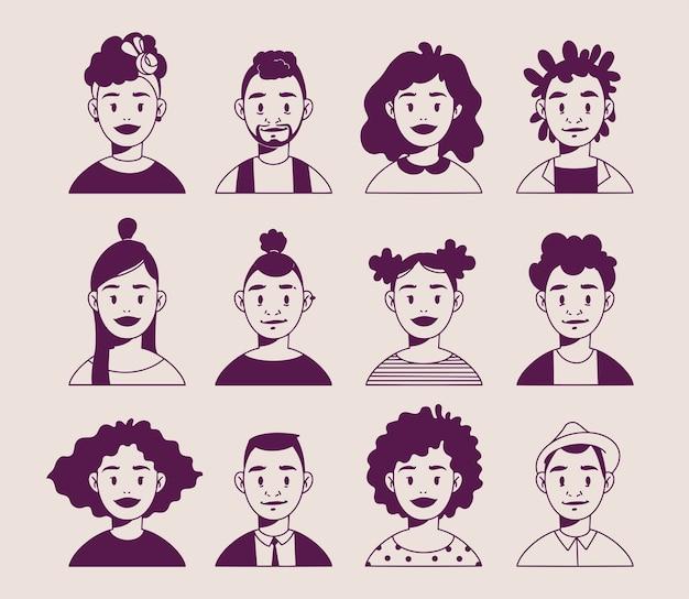 Afro-amerikaanse lachende gezichten, lineaire kunst, moderne jonge afro-amerikaanse minimalistische avatars. hand getekend vectorillustratie met cartoon mensen gezichten in moderne stijl. geïsoleerd op lichte achtergrond Premium Vector