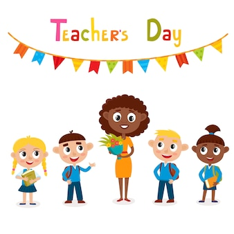 Afro-amerikaanse leraar met bloem en leerlingen, gelukkige lerarendagkaart.