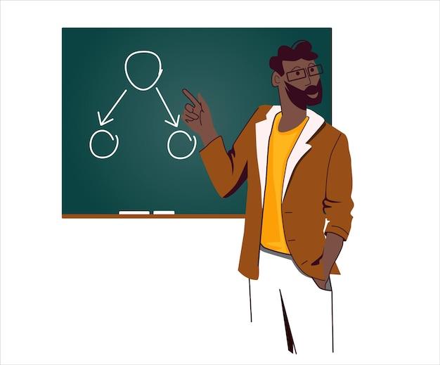 Afro-amerikaanse leraar staat met een voorbeeld van datastructuur les aan de universiteit