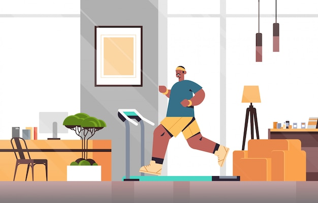 Afro-amerikaanse man draait op loopband thuis man met training cardio fitness training gezonde levensstijl sport concept woonkamer inerieure volledige lengte illustratie