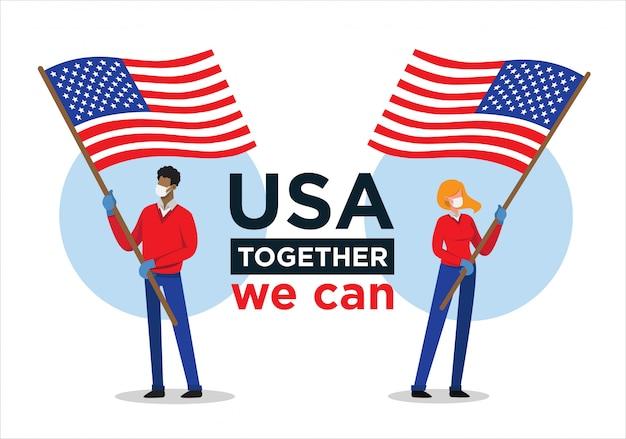 Afro-amerikaanse man en blanke vrouw met de vlag van de verenigde staten die mensen aanmoedigt tegen het coronavirus