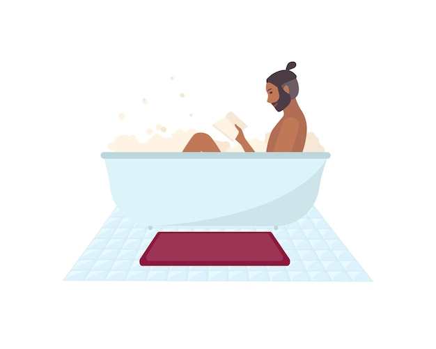 Afro-amerikaanse man zit in badkuip vol zeep schuim en leesboek geïsoleerd. bebaarde mannelijke stripfiguur tijd doorbrengen in de badkamer. kleurrijke vector illustratie.