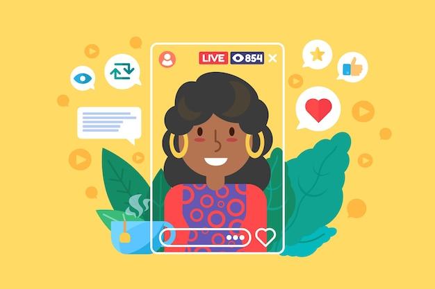 Afro amerikaanse meisje streamer egale kleur vector teken