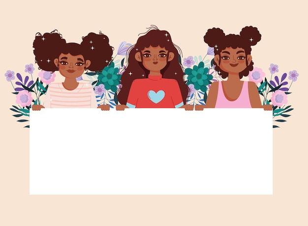 Afro-amerikaanse meisjes cartoon met aanplakbiljet en bloemendecoratie