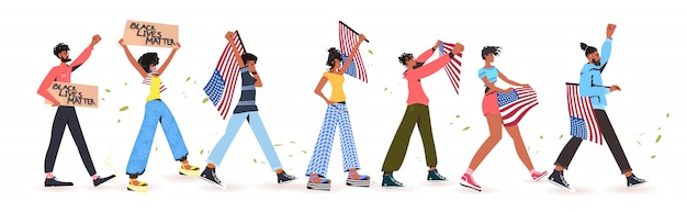 Afro-amerikaanse mensen houden amerikaanse vlaggen en spandoeken vast, zwarte levens doen ertoe, campagne tegen rassendiscriminatie