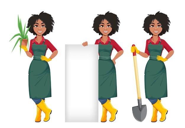 Afro-amerikaanse tuinmanvrouw
