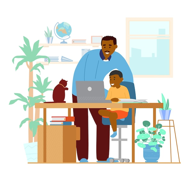 Afro-amerikaanse vader of tutor die zoon thuis onderwijst. thuisonderwijs. werkplek interieur. illustratie.