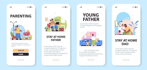 Afro-amerikaanse vader tijd doorbrengen met zijn zoontje vaderschap ouderschap concept smartphone schermen collectie volledige lengte kopie ruimte horizontale vectorillustratie